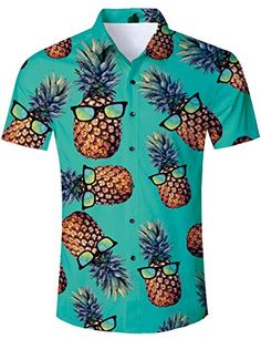 UK Stock Mens Pineapple Shirts Tops Casual Short Sleeve Hawaiian Beach Shirt