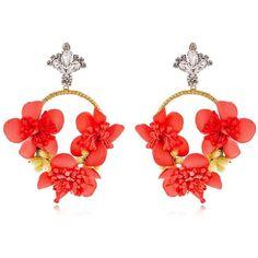 Vanina Women The Douma Garden Hoop Earrings (2 355 SEK) ❤ liked on Polyvore featuring jewelry, earrings, pink, cord jewelry, pink earrings, floral jewelry, floral earrings and vanina