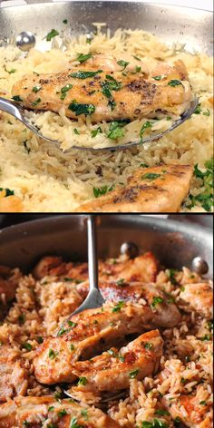 Chicken with Garlic Parmesan Rice is the perfect dish for easy weeknight dinners. Ingredients: chi Chicken with Garlic Parmesan Rice is the perfect dish for easy weeknight dinners. Easy Healthy Dinners, Healthy Dinner Recipes, Cooking Recipes, Easy Weeknight Dinners, Meat Recipes, Comida Diy, Baked Chicken Recipes, Chicken Recipes For Dinner, Steak Dinner Recipes