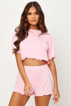 Blush pink jersey pyjama short set including a short sleeved cropped t-shirt with a frill scallop hem and mini length shorts with an elasticated waistband and frill scallop hem. Pj Shorts, T Shirt And Shorts, Blazer Outfits For Women, Cute Sleepwear, Pajama Shirt, Blush Pink, Short Set, Mini Skirts, Clothes For Women