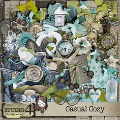 Casual Cozy- A beautiful kit with greens, blues and browns. Contains 14 - 300 dpi JPEG papers and 53 high resolution png elements.