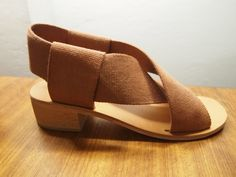 """Didion Criss Cross Tan Webbing Sandal with a Leather Sole and Chunky 1 3/4"""" Wooden Heel"""