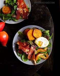 Bacon Salad with Roasted Sweet Potatoes and Caramelized Pears - Sweet Savant