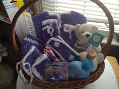 Baby Shower Gift Basket Essential Baby Bath Items and Handmade Crochet Clothes and Accessories  Kardsandgifts@gmail.com