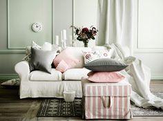 3er sofa und ektorp hocker mit bezug mobacka in beigerot mit