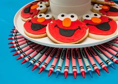 Cute crayon tray  Red and Turquoise Elmo Party | | Kara's Party IdeasKara's Party Ideas