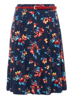 Embrace the warmer seasons with this skater skirt, featuring a charming floral pattern, button front and stylish woven belt. Added stretch provides it with a flowing silhouette. Navy belted skater skirt Woven string belt Elasticated waistband Stretch fabric Button detail on the front Model's height is 5'11 Woven Belt, Stretch Fabric, Skater Skirt, Baby Kids, Summer Dresses, Navy, Stylish, Skirts, Model