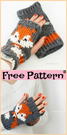Knit / Crochet Fox Mittens - Free Patterns These Crochet Fox Mittens are pretty cute, and they also come with a knitting design. We have both knit and crochet design Crochet Fox, Crochet Hat For Women, Crochet Amigurumi Free Patterns, Crochet Mittens, Crochet Gloves, Crochet Baby Hats, Baby Knitting Patterns, Easy Crochet, Free Crochet