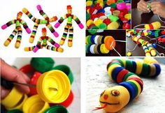 I love activities for kids that are both creative and enable recycling. This one certainly fits the bill. Kids Crafts, Projects For Kids, Arts And Crafts, Diy Projects, Project Ideas, Plastic Bottle Caps, Bottle Cap Art, Bottle Top Crafts, Diy Bottle