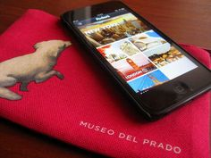 """http://www.culturaltravelguide.com/how-to-plan-your-trip Small purse from El Prado Museum in Madrid, Spain. I use it to store my iPod touch. It was decorated with the little dog that appears in the painting """"La Sagrada Familia del Pajarito"""", 1650, by Bartolomé Esteban Murillo. Love it! www.culturaltravelguide.com #Madrid #Museums"""