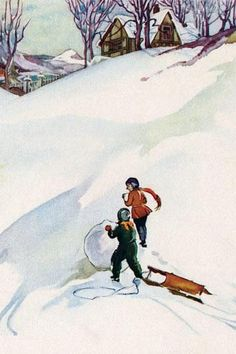 Beginning the Snowman 28x42 Giclee on Canvas