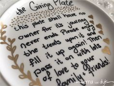 DIY Giving Plate.  Tutorial in post.  This would make a great teacher or neighbor gift! www.dandelionmoms.com