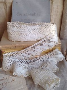 Antique Lace, Handmade Cotton Trim, 628 cm Cream Lace, French Home Decor, Vintage Wedding Bears & Dolls by BrocanteArt on Etsy