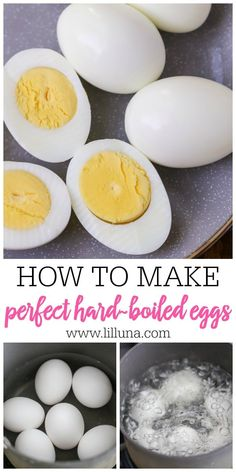How to Boil the Perfect Egg Step by Step (+VIDEO) Lil' Luna is part of Boiled egg recipes - How to boil the perfect egg this simple tutorial shows you how to get the perfect hard boiled eggs that are easy to peel and have no gray rings! Easy Hard Boiled Eggs, Cooking Hard Boiled Eggs, Boiled Egg Diet, Hard Boil Eggs, How To Boil Eggs, Hard Boiled Eggs Recipe, Deviled Eggs Recipe, Best Boiled Eggs, Easy To Peel Eggs