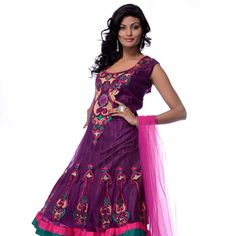 Purple Net Readymade Churidar Kameez