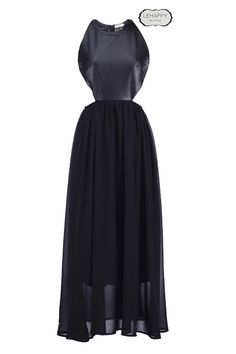 Black Different Material Stitching #Dress #Romwe