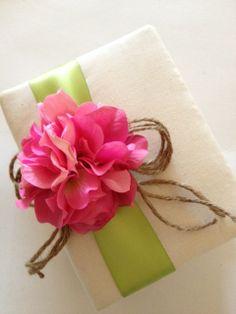 Rustic Wedding Photo Album Hot Pink Hydrangeas by CoutureLife