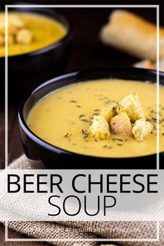 Beer Cheese Coup - Simple beer and cheese soup made with your favorite beer and flavored with garlic, thyme, and paprika. Light Recipes, Wine Recipes, Soup Recipes, Cooking Recipes, Chili Recipes, Easy Weeknight Meals, Easy Meals, Beer Cheese Soups