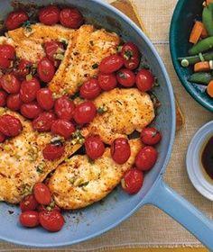 frango grelhado com manjericão e tomates cereja