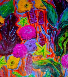 """Mixed Media Artists International: Colorful Contemporary Abstract Flower Art Painting """"Garden Party"""" by Santa Fe Contemporary Artist Melanie Birk"""