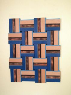 Turquoise Cerulean Wood Weave Wood Wall Art Home by TerramaeAndCo, $245.00