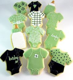 The Best Peanut Butter Cookies Green, White, & Black Baby Shower Collection :o) Fancy Cookies, Iced Cookies, Cute Cookies, Cupcake Cookies, Sugar Cookies, Crazy Cookies, Cookie Cakes, Cupcakes, Bebe Shower