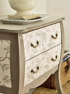 Furniture Makeovers: 1 Chest, 3 Ways. Decorate a chest of drawers with paint, stencils, wallpaper, or carved trims.