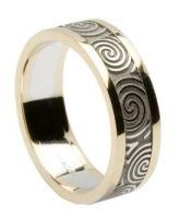 Newgrange Swirl Wedding Ring with Gold Trim