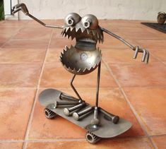 Skateboarder Riding Skate Board, Garden Art - Fred Conlon