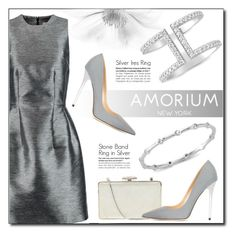"""""""Silver Strike"""" by amorium ❤ liked on Polyvore featuring Iris & Ink, Judith Leiber, Jimmy Choo and Amorium"""