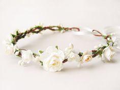 Couronne de fleur mariée, couronne de fleurs de mariage, Couronne Ivoire, bandeau Floral, casque rustique - CRÈME à la VANILLE