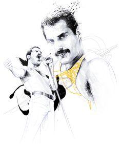 Freddie Mercury By David Despau. Freddie Mercury Tattoo, Sketches, Tattoos, Illustration, Drawings, Art, Portrait, Rock Art, Freddy