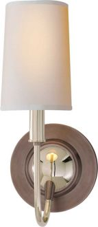 In Polished/ Antique Finish combo. Sconce pairing with Mainstay Chandelier