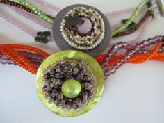 Bracelets made with old buttons and a few seed beads.