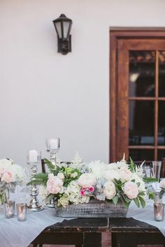 Romantic Ivory and Pink Centerpiece   photography by http://jasminestar.com/