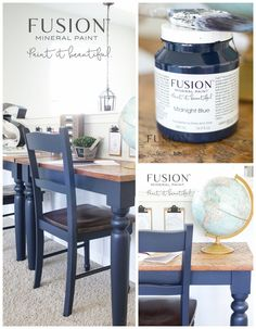 Fusion Midnight Blue Dining Set Makeover Lost Found Refurbished Furniture, Paint Furniture, Repurposed Furniture, Furniture Projects, Furniture Makeover, Coaster Furniture, Furniture Dolly, Cheap Furniture, Refurbished Kitchen Tables