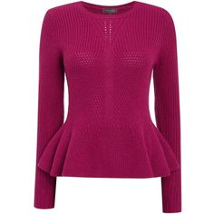 Pied a Terre Peplum sweater ($100) ❤ liked on Polyvore featuring tops, sweaters, magenta, women, purple top, pied a terre, purple peplum top, magenta sweater и crew neck sweaters