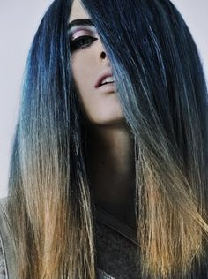 Wow - this ombre blue blonde is epic! #ombre #blue #hair