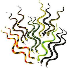 Snake party favors for a snake themed party. Snakes work well for nature, safari and reptile themed parties. Diy Carnival, Carnival Rides, Carnival Masks, Reptiles, Medusa Halloween Costume, Snake Party, Christmas Present For You, Game Prizes, Serpent