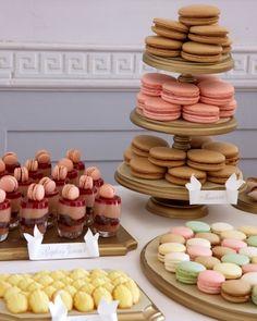 Macarons,madeleines and raspberry verrines