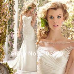 In Style Lovely Mermaid Scoop Neck Satin Pleats Pearls Ivory Backless Vintage Corset Wedding Dresses 2014 vestido de noiva da China