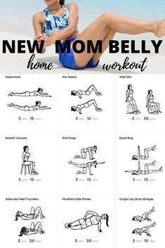 Get Rid of Baby 👶 Weight Without Going Through A Lot If you just had a baby and looking to strengthen your core then try this new mom belly workout you can do at home. Be sure to get clearance from your physician before starting any new workout program. New Mom Workout, After Baby Workout, Post Baby Workout, Post Pregnancy Workout, At Home Workout Plan, At Home Workouts, Workout Plans, Fitness After Baby, Workout Ideas
