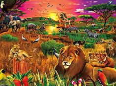 Buffalo Games African Evening by Gerald Newton Signature Matte Finish Jigsaw Puzzle 1000 Piece * Continue to the product at the image link.Note:It is affiliate link to Amazon. #KidsLeisure