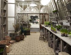 A potting shed. First I need to get a backyard. Outdoor Spaces, Outdoor Living, Outdoor Decor, Cafe Design, House Design, Design Shop, Potting Sheds, Potting Benches, Beautiful Farm