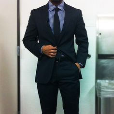 Navy suit, blue gingham shirt, navy tie