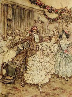 The way he went after that plump sister in the lace tucker! - Arthur Rackham, from A Christmas carol, by Charles Dickens, London, Dickens Christmas Carol, A Christmas Story, Christmas Art, Victorian Christmas, Vintage Christmas, Victorian Party, Victorian London, Christmas Pictures, Christmas Ideas