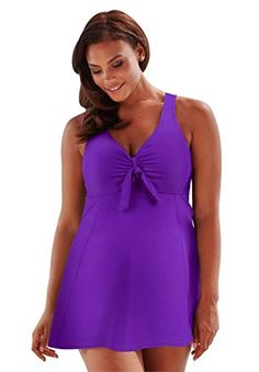 f8195a92056 Introducing Roamans Womens Plus Size Tie Front Swimdress Grape22. Get Your  Ladies Products Here and