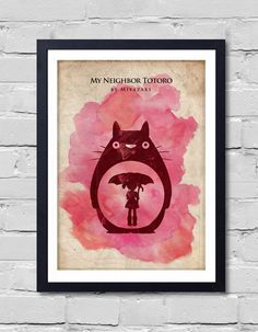 Mi vecino Totoro. Hayao Miyazaki película minimalista cartel