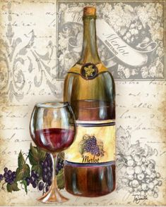 Mis Laminas para Decoupage (pág. 503) | Aprender manualidades es facilisimo.com Decoupage Vintage, Decoupage Paper, Wine Decor, Wine Art, Picture Postcards, Italian Art, Wine Time, Chalkboard Art, Vintage Pictures