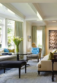Coffered Ceiling Treatment - Coffered ceiling treatments are an great way to add architectural focus to your ceiling. Ceiling Design, Ceiling Ideas, Ceiling Treatments, New York Style, Bay Window, Family Room, Modern Design, Sweet Home, Windows